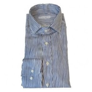 Etro Squiggly Striped Shirt in Blue and White 12908