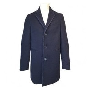 Etro Overcoat in Navy with Inner Floral Pattern U25 1C871