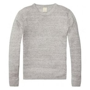 Scotch & Soda HOME ALONE Crewneck Knitted Cotton-Linen Grey Melange Sweater 134345