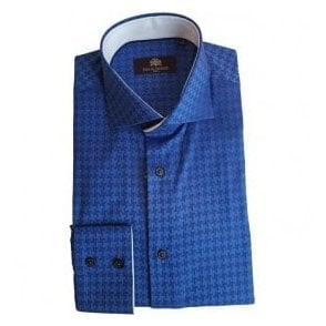 Circle Of Gentlemen JENOAH Cobalt Blue Check Long-Sleeve Double Cuff Shirt 09532