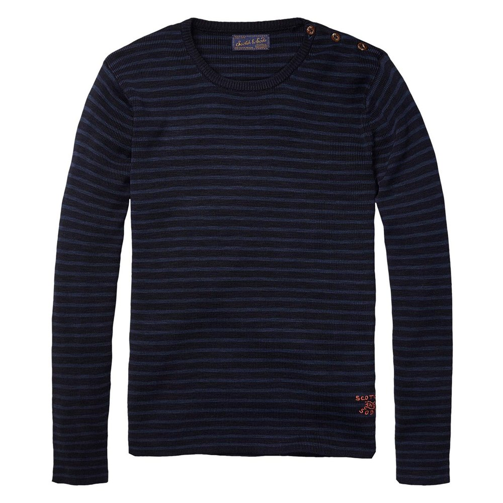 scotch and soda striped pullover with button detail in. Black Bedroom Furniture Sets. Home Design Ideas