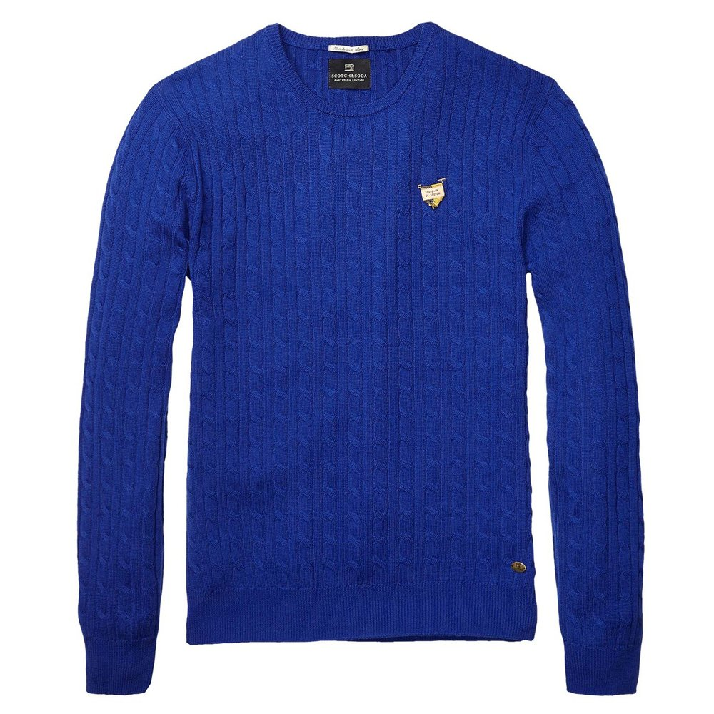scotch and soda cable knitted crew neck pullover in blue. Black Bedroom Furniture Sets. Home Design Ideas