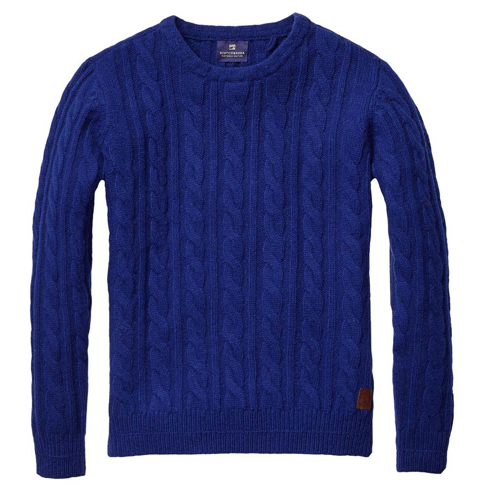scotch and soda chunky crew neck pullover in cobalt blue. Black Bedroom Furniture Sets. Home Design Ideas