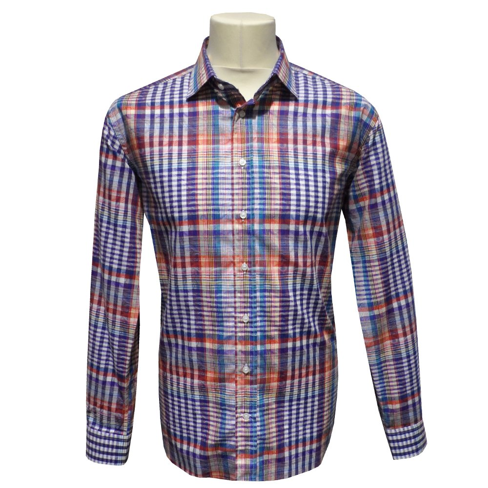 Etro multicoloured checked and paisley print mens shirt 12908 for Etro men s shirts