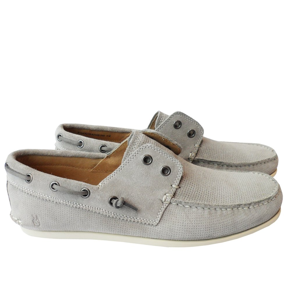 John Varvatos *USA 'SCHOONER' Laceless Boat Shoes in Stone. F1543Q1B