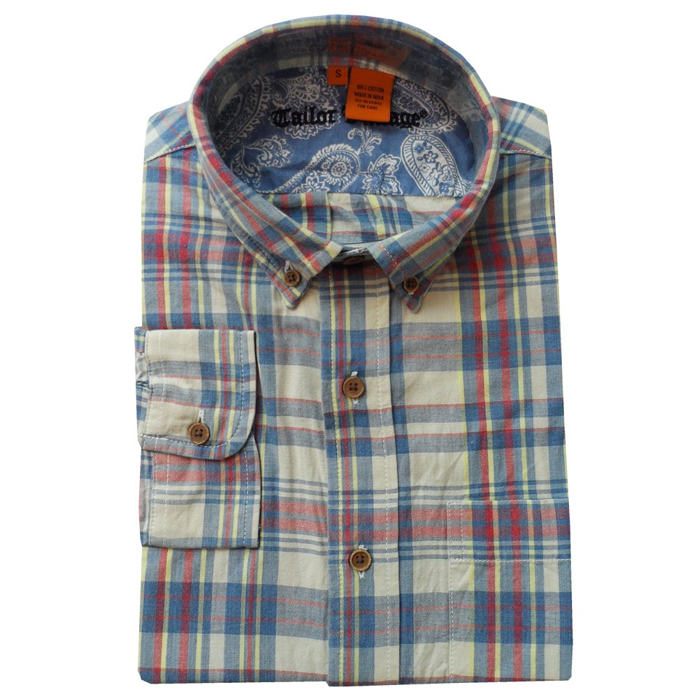 Tailor Vintage Hand-Woven Madras Check Shirt in Blue.