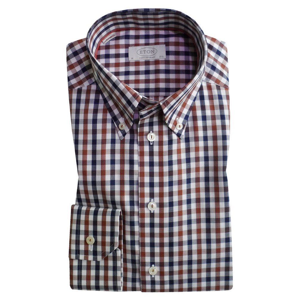 Eton contemporary fit single cuff check shirt in brown for Single cuff dress shirt