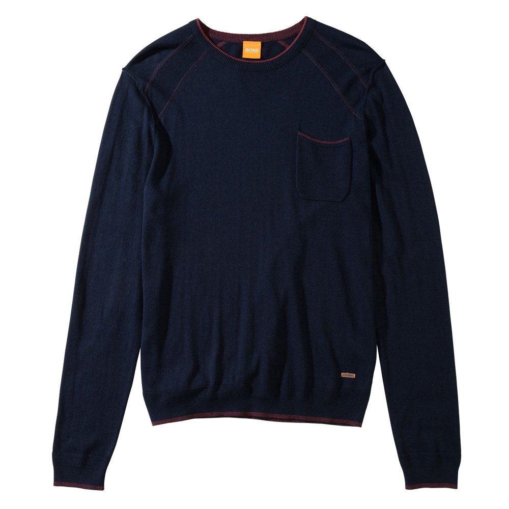 hugo boss orange 39 achidi 39 crew neck sweater in navy. Black Bedroom Furniture Sets. Home Design Ideas