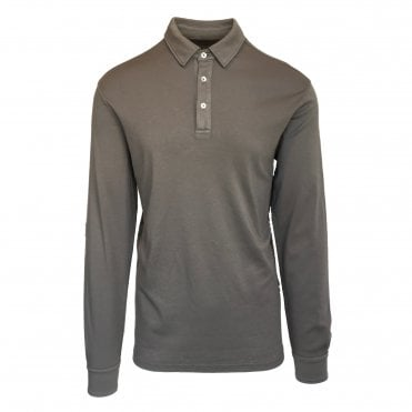 Altea Beige Long-Sleeve Cotton Polo Shirt