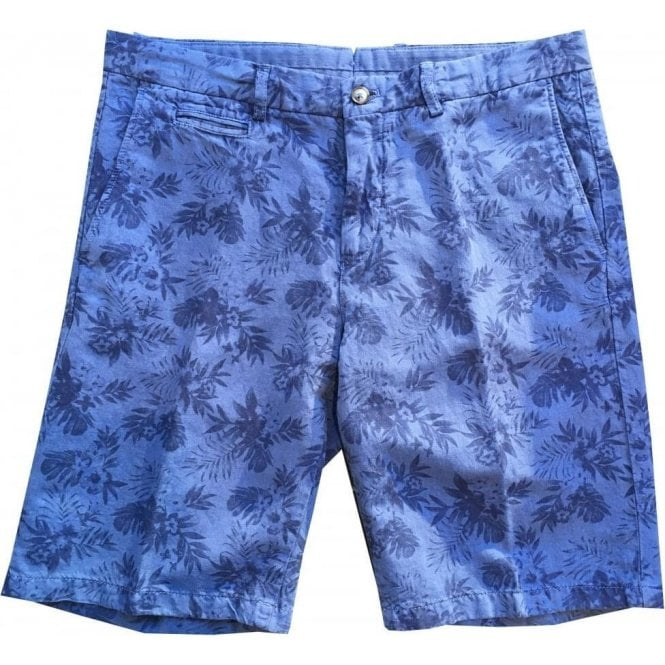 Altea Blue Floral Print Linen/Cotton Blend Shorts 1853303 3