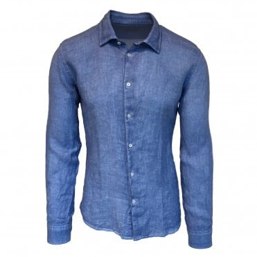 Altea Blue Italian Linen Shirt