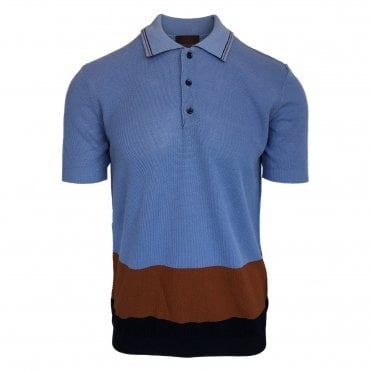 Altea Blue Knitted Short Sleeve Polo