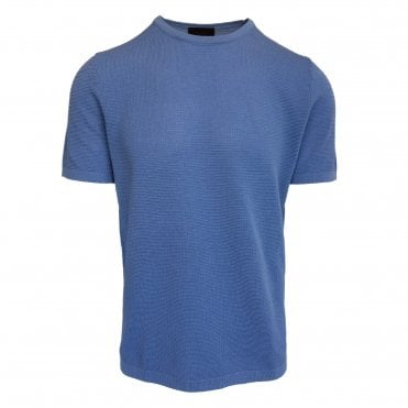 Altea Blue Knitted Short Sleeve T-Shirt