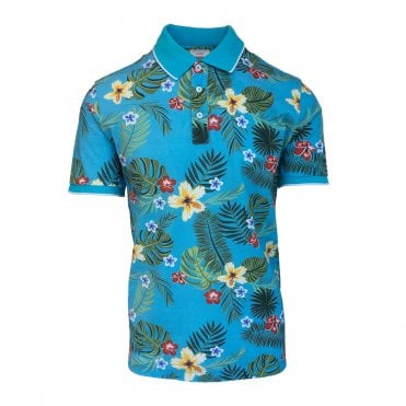 Altea Blue Short Sleeve Polo with Floral Print