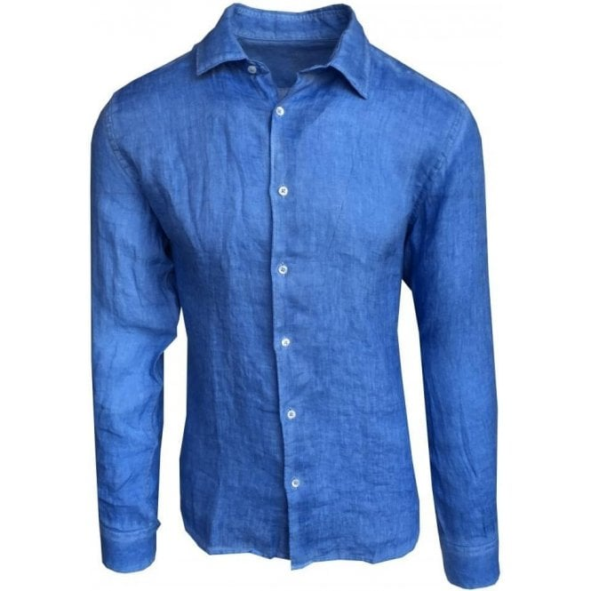 Altea Camicia Tinto Capo Garment Dyed French Blue Shirt In Italian Linen 1854001 4