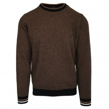 Altea Chunky Brown & Black Crew Neck Jumper