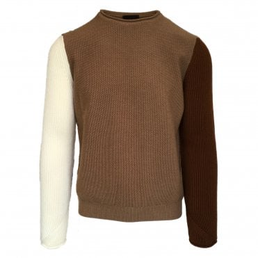 Altea Chunky Brown Crew Neck Jumper with Contrasting Cream and Brown Arms