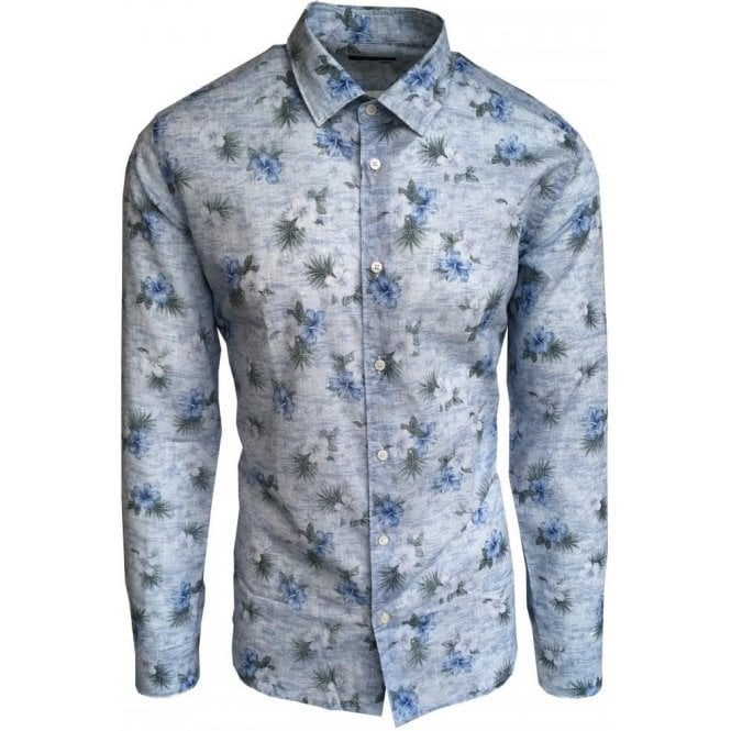 Altea Light Blue Floral Long-Sleeve Shirt In Italian Cotton 1854048 13
