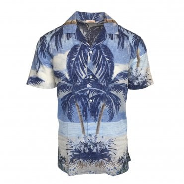 Altea Light Blue Palm Tree Shirt