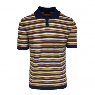 Altea Multicolour Striped Knitted Short Sleeve Polo