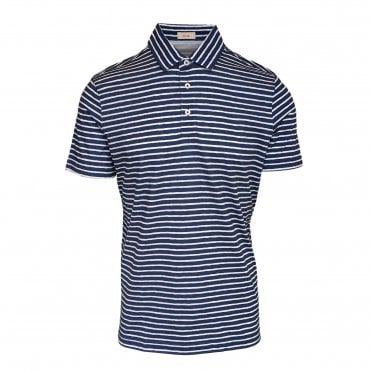 Altea Navy and White Striped Short Sleeve Polo