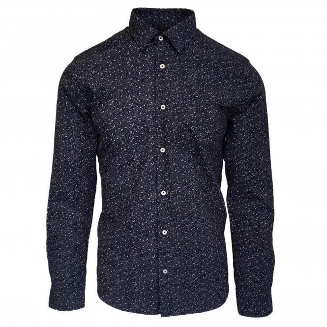 Altea Navy Cotton Micro Flower Pattern Shirt