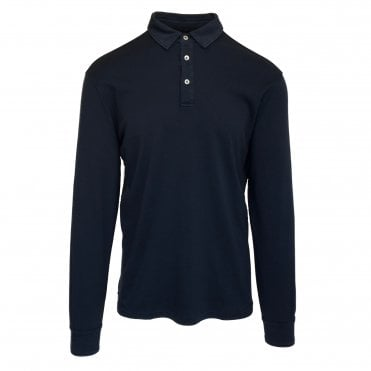 Altea Navy Long-Sleeve Cotton Polo Shirt