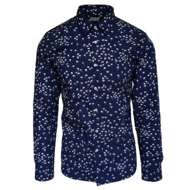 Altea Navy Palm Print Shirt