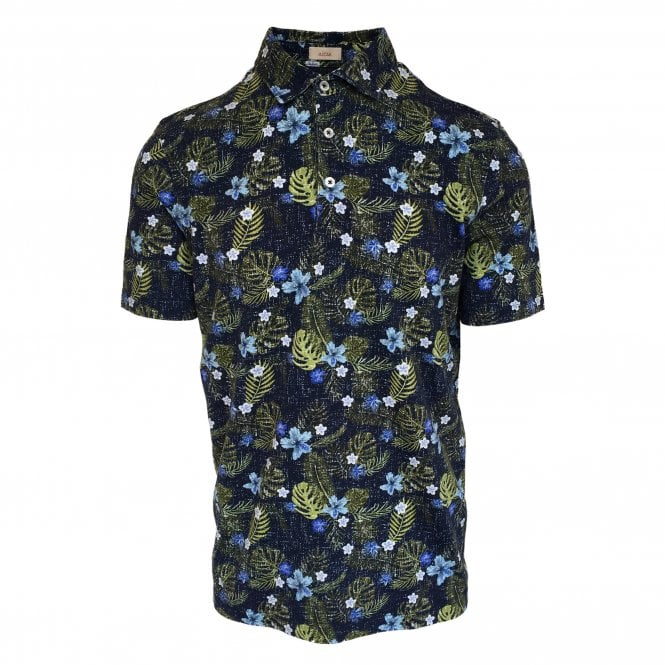 Altea Navy Short Sleeve Polo with Floral Print