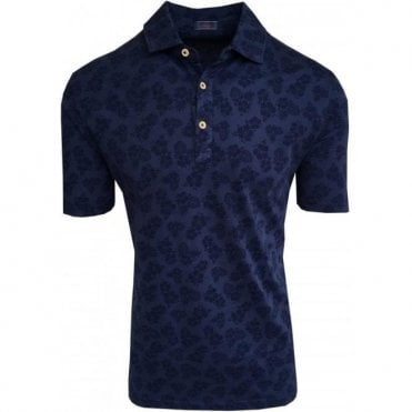 Altea 'Smith Fiore Hawaii Tinto Capo' Navy Floral Print Polo Shirt 1855062 1