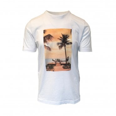 Altea White Crewneck T-Shirt With Sunset Print