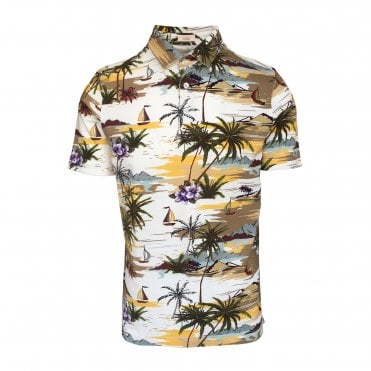 Altea White Short Sleeve Polo with Beach Print