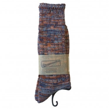 Anonymousism Blue & Orange Melange Socks