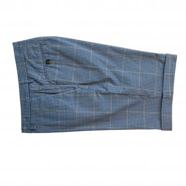 Briglia Blue Checked Shorts with Turn-Up Finish