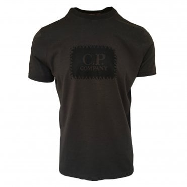 C.P. Company Black Short-Sleeve T-Shirt with Black Logo Print