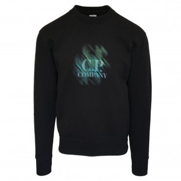 C.P. Company Black Sweatshirt with Distorted Logo Print