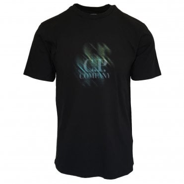C.P. Company Black T-Shirt with Distorted Logo Print