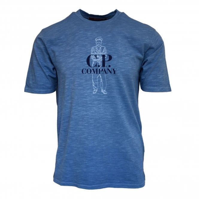 C.P. Company Blue T-Shirt with Sailor Silhouette Print
