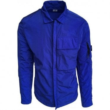 C.P. Company Chrome Garment Dyed Multi-Filament Nylon Neon Blue Overshirt MSH036A005148G