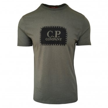 C.P. Company Military Green Short-Sleeve T-Shirt with Black Logo Print