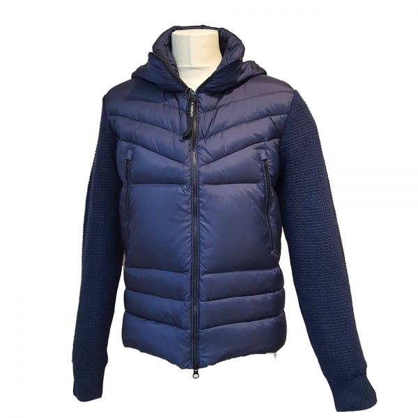 0d345fa99 C.P. Company Navy Knitted Hooded Down Jacket M07002004306 887