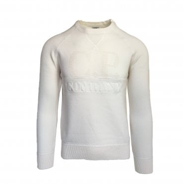 C.P. Company White Jumper with Logo across the chest