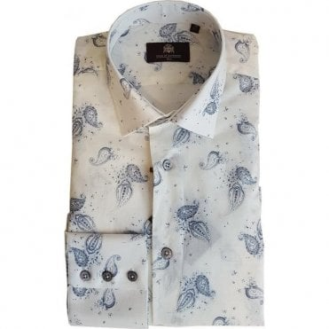 Circle Of Gentlemen JUNIUS White Ecru Print Long-Sleeve Triple Cuff Shirt 09529 1BL