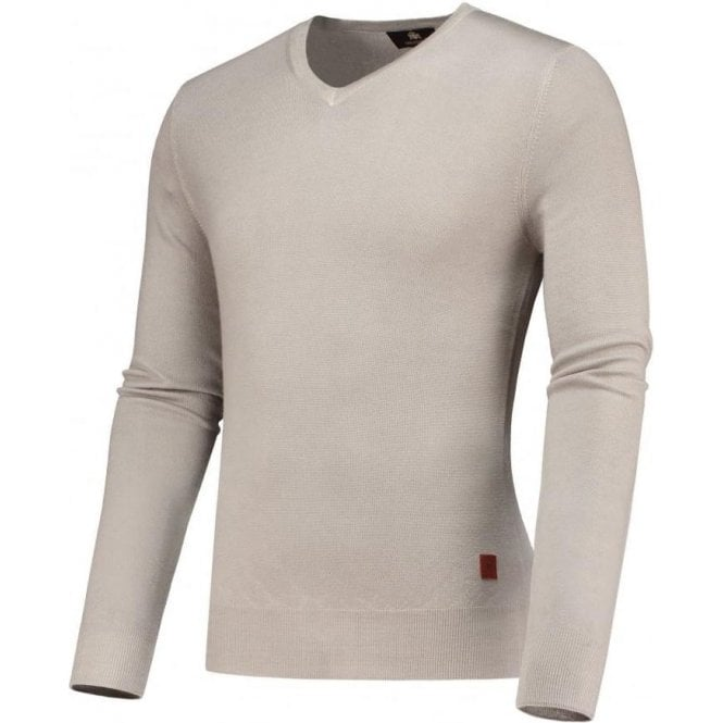 Circle Of Gentlemen 'Magar' Beige V-Neck Merino Wool Pullover 10341 720