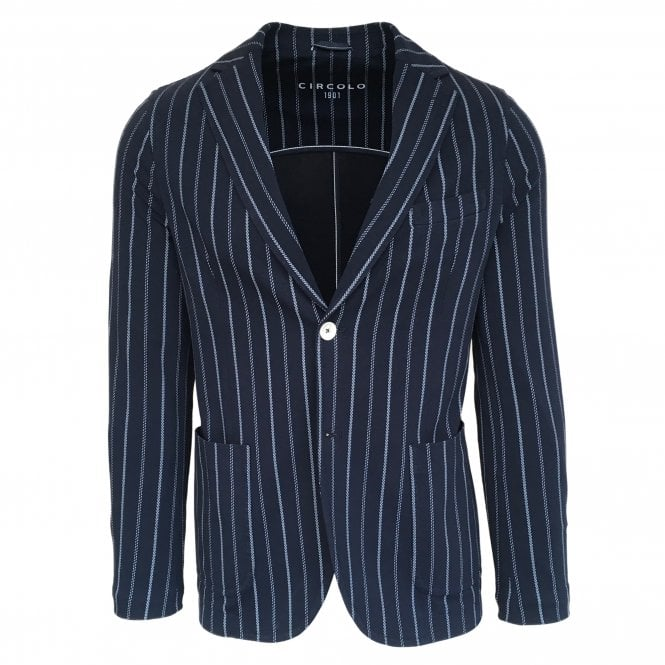 Circolo 1901 Blue Stripe Stretch Jersey Jacket