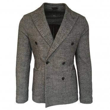 Circolo 1901 Checked Stretch Jersey Double Breasted Jacket