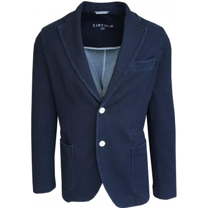 Circolo 1901 Indigo Blue Spotted Stretch Cotton Sports Jacket CN1874