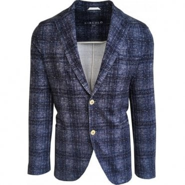 Circolo 1901 Mixed Blue Check Stretch Cotton Sports Jacket CN1846