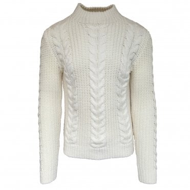 Circolo 1901 Natural Colour Cable Knit Wool Jumper with a Turtle Neck