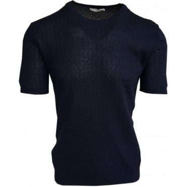 Circolo 1901 Navy Cross-Stitch Knitted Crewneck Short-Sleeve T-Shirt CN1968